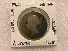 1842 Great Britain 1/2 Half Crown KM #740 Queen Victoria  Silver Coin~MTG=486K