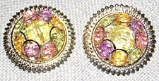 VINTAGE FUN GOLD TONE FACETED MULTI COLOR LUCITE LARGE PIERCED EARRINGS