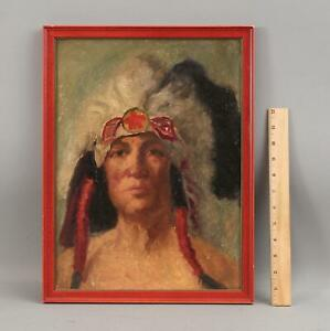 Antique Western Native American Indian Chief Impressionist Portrait Oil Painting