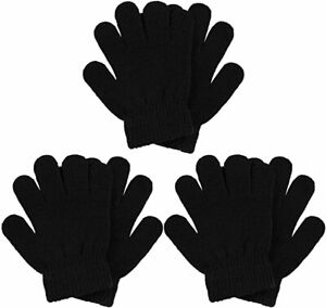 Childrens Winter magic gloves Stretchy Warm 3 Pairs BLACK