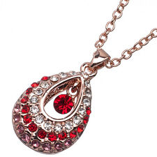 4.40 Ct Round Cut Red Garnet & Pink Sapphire CZ 18K Rose Gold Plated Pendant