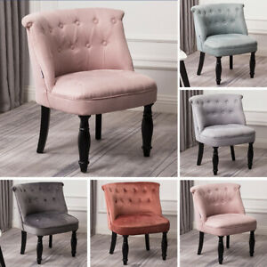 Chesterfield Upholstered Fabric Armchair Dining Chair Tufted Button Chairs Sofa