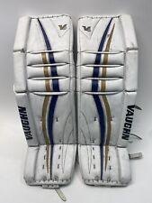 Vaughn Velocity V6 1000 Pro Leg Pads Ice Hockey Goalie 36+2 White Blue Gold