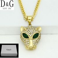 """DG Men's 20"""" Stainless-Steel Gold Curb Chain,CZ Panther.Pendant*Unisex**Box"""