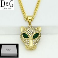 "DG Men's 20"" Stainless-Steel Gold Curb Chain,CZ Panther.Pendant*Unisex**Box"