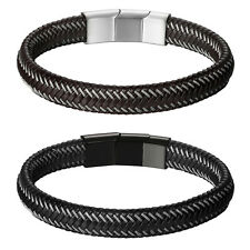 Men's Punk Braided Twisted Leather Stainless Steel Magnet Buckle Bracelet Bangle