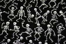 SKELETON FABRIC Dancing Skulls Gothic on Black - Cotton DIY Craft Quilt - BTY