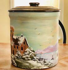 "Antique Hand Painted Americana Winter Scene 4 Gallon Stoneware Crock w/ Lid 14""H"