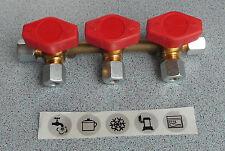 Gas Verteilerblock Gasventil 3 Abgänge für 8mm Rohr, Gashahn 70131Lg NEU