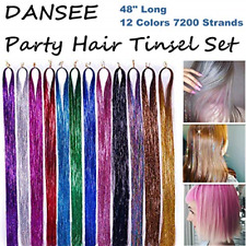 """Hair Extensions DANSEE 48"""" Tinsel 7200+ Glitter Strands 12 Colors Set &"""