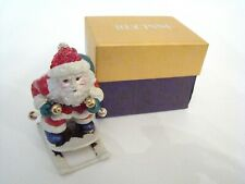 RUCINNI Jeweled Trinket Hinged Box - Santa on Skis with Red Jeweled Hat