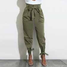 Fashion Womens Solid Belted High Waist Trousers Ladies Party Casual Long Pants Brown XL