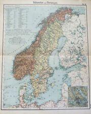 Landkarte von Schweden und Norwegen, Skandinavien, Finnland, Otto Herkt um 1905
