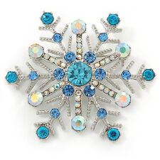 Crystal Snowflake Brooch In Rhodium Plating (Light Blue/ AB) - 52mm Across