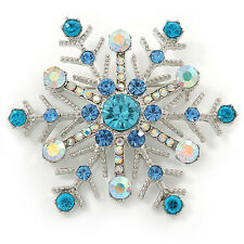 Crystal Snowflake Brooch In Rhodium Plating (Light Blue/ AB) - 52mm Across