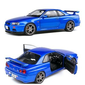 1/18 Solido Nissan R34 GTR Bayside Blue 1999 Neuf En Boîte Livraison Domicile