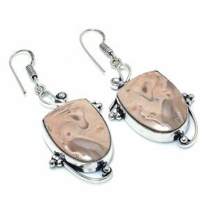 "Plume Root Jasper Gemstone Handmade Ethnic Jewelry Earring 2.17"" RL-5572"