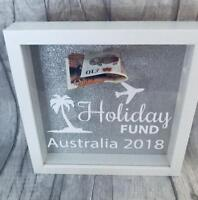 PERSONALISED HOLIDAY Fund MONEY BOX Frame, Present Gift, Love, ADVENTURE, TRAVEL