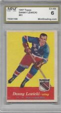 1957 Topps hockey card #61 Danny Lewicki, New York Rangers graded EXMT 6