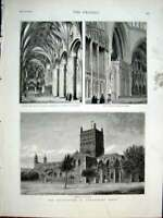 Original Old Antique Print Restoration Tewskesbury Abbey 1877 19th