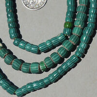 strand venetian 3 layer small teal chevron african trade beads #1778