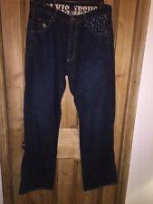 """Jesus & Co Couture Indigo Wash Blue Wide leg Jeans Size W34"""" L34"""" *C1"""