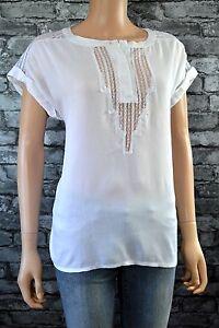 Ex Catalog White Short Sleeve Lace Detail Button Neck T-Shirt Top Blouse Size 8