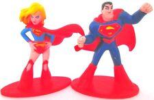 SUPERMAN & SUPERGIRL DC Comics PVC TOY FIGURE SET Birthday Cake Topper FIGURINE!