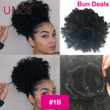 """Ponytail High Hair Puff Clip in Bun Hairpiece Afro Kinky Curly Synthetic Hair 6"""""""