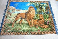 Vintage Tapestry Lion Cubs Pride African Savannah Wall Hanging Art Cabin Lodge