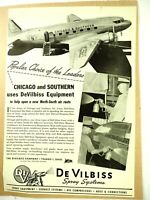 Chicago and Southern Airlines Uses DeVilbiss Equipment  Advertisement 1940's