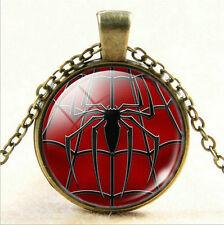 Superhero Shield Glass Cabochon Photo Spider man Pendant Bronze Chain Necklace