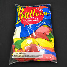 """Assorted Color Balloons - 72 Pack Tuf Tex 17"""" Jumbo Round Latex Balloons"""