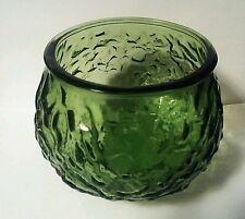 Vintage E.O. Brody Textured Crinkled Dimpled Green Glass Bowl Planter Vase G100