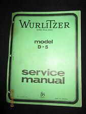 Wurlitzer Organ Model D-5 Service Manual Schematics Factory OEM