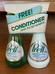 RARE Vintage PRELL Shampoo & Conditioner Plastic Bottles 7 oz PROCTER & GAMBLE