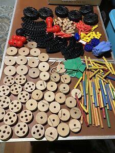Vintage Tinker Toys Mixed Lot. 194 pcs Wooden wheels sticks. Plastic connectors
