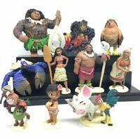 12PCS Moana Disney Toy Action Figures Maui Chief Tui Sina Gramma Heihei Tooper