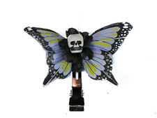Hairy Scary Lavendar & Yellow Mini Kahlovera Skull Butterfly Feather Hair Clip