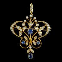 ANTIQUE VICTORIAN ART NOUVEAU SAPPHIRE PEARL PENDANT BROOCH 15CT GOLD CIRCA 1900