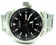 Men Citizen Stainless Steel Day Date Black Dial 44mm Automatic Watch NH8370-86E