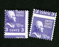 US Stamps # 807 2 Striking Errors