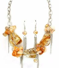 Beige Light  Amber Quartz Stones AB Facet Beads Necklace Set Fashion Jewelry