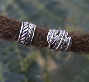 Feather & Leaf Dreadlock Beads 8/9mm Hole (5/16 Inch) Stainless Steel Dread Set