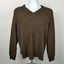 Joseph Abboud Mens Dark Brown Acrylic Wool V-Neck Pull Over Sweater Size Large