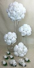 Pure White Peony Flowers Artificial Silk Flowers Wedding Bouquet Set