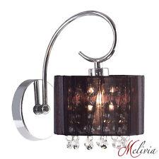 Aplique de pared lámpara tela negra cristal cromado Candelero