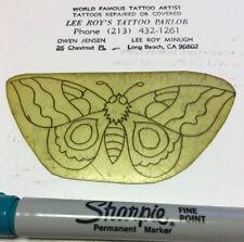 """1930's Owen Jensen """"#2 Unusual Butterfly"""" Acetate Tattoo Stencil Old School"""