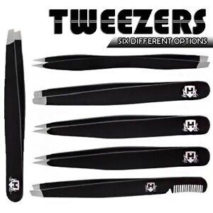 6 Options Stainless Steel Black Eyebrow Tweezers Slanted Hair Remover Saloon UK
