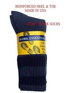 "MEN'S WORK BOOTS SOCKS  3/6-Pack  Fits Shoe Sz. 8-12 "" HEAVY DUTY & MADE IN USA"""